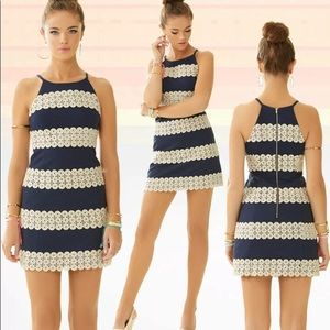 NWT Lilly Pulitzer Annabelle Shift Dress Navy/Gold